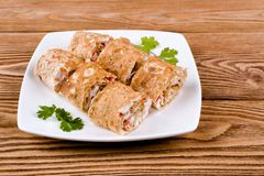Pita rolls with cheese, greens and crab sticks Royalty Free Stock Image