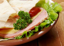Pita Sandwich with cheese,ham Stock Photos