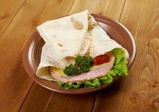 Pita Sandwich with cheese,ham Royalty Free Stock Photos