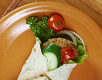 Pita Sandwich with meat Stock Photography