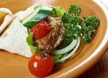 Pita Sandwich with meat Stock Image