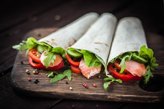 Pita sandwich stuffed with fish Royalty Free Stock Photography
