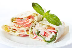 Pita stuffed with fish Stock Photography