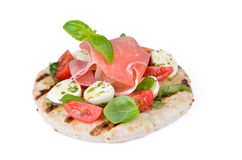 Pita with tomato and mozzarella Stock Image