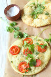 Pita with tomatoes and cheese, focaccia Stock Photo