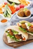 Pita vegetariana sana del falafel con gli ortaggi freschi e la salsa immagine stock libera da diritti