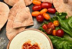 Pita y Hummus Foto de archivo libre de regalías