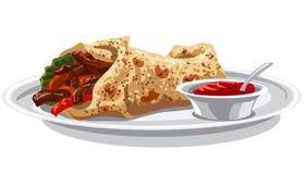 Pitabröd med grillat kött royaltyfri illustrationer