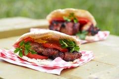 Pitabröd med kött royaltyfria foton