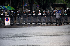 Pitak Siam Anti-Government Rally in Bangkok, Thailand. Police blocked demonstrators from accessing some streets near government buildings.The rally was holded by Stock Photo