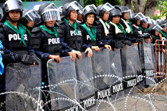 Pitak Siam Anti-Government Rally in Bangkok, Thailand. Police blocked demonstrators from accessing some streets near government buildings.The rally was holded by Royalty Free Stock Photography