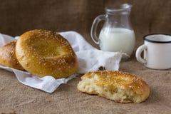 Pitas bread. Fresh pitas bread and milk jug Stock Photos