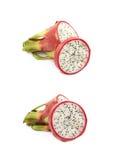 Pitaya découpé en tranches de fruit du dragon d'isolement Photographie stock
