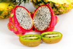 Pitaya, fresh dragon fruit,kiwi,Pineapple, isolate Royalty Free Stock Photo
