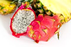 Pitaya, fresh dragon fruit,Pineapple, isolate Royalty Free Stock Image