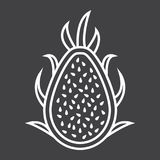 Pitaya line icon, dragon fruit and tropical. Vector graphics, a linear pattern on a black background, eps 10 Stock Images