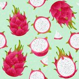 Pitaya seamless pattern. Red ripe dragon fruit. Whole and cut fruit on shabby background. Original illustration on shabby style vector illustration