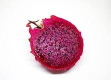 Pitaya sur le fond blanc Dragonfruit a coupé sur la moitié Déjeuner sain Photographie stock libre de droits
