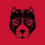 Pitbull 狗头商标或象在一种颜色 设计例证股票您使用的向量 免版税库存照片