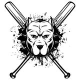 Pitbull. Abstract vector black and white illustration portrait of fighting dogs. Head of dog breed pit bull in collar with spikes on crossed baseball bats Stock Image