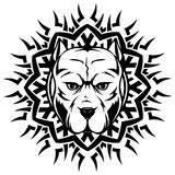 Pitbull. Abstract vector black and white illustration portrait of fighting dogs on round pattrn. Head of dog breed pit bull Royalty Free Stock Photo