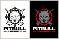 Pitbull with cross rifle and crosshair vector logo template royalty free illustration