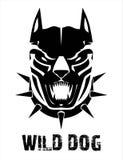 Pitbull. Doberman. Boxer. Wild dog. Black wild dog. Stylized Black Canine in black & white, suitable for team mascot, community icon, emblem, product identity royalty free illustration