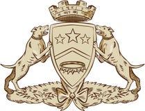 Pitbull Dog Coat of Arms Etching Stock Photos