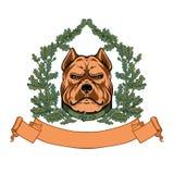 Pitbull kierowniczy i dębowy wianek - WEKTOROWY logo Obraz Stock