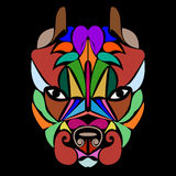 Pitbull. Patterned colored head dog. African, Indian, totem, tattoo. For design of a T-shirt, a bag, a poster, clothes and a logo. stock illustration
