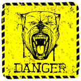 Pitbull. Vector illustration yellow sign with aggressive snarling dog breed pit bull with an open mouth. Inscription danger Royalty Free Stock Photography