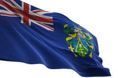 Pitcairn Eilanden het nationale vlag golven geïsoleerd op witte 3d illustratie als achtergrond royalty-vrije illustratie