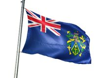 Pitcairn Eilanden het nationale vlag golven geïsoleerd op witte realistische 3d illustratie als achtergrond vector illustratie