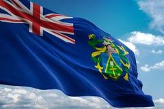 Pitcairn Eilanden nationale vlag die blauwe hemel realistische 3d illustratie golven als achtergrond stock illustratie