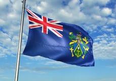 Pitcairn Eilandenvlag die met hemel op realistische 3d illustratie als achtergrond golven vector illustratie