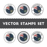 Pitcairn Islander flag rubber stamps set. National flags grunge stamps. Country round badges collection Royalty Free Stock Photos