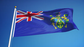 Pitcairn Islands flag in slow motion seamlessly looped with alpha. Pitcairn Islands flag waving in slow motion against blue sky, seamlessly looped, close up stock footage