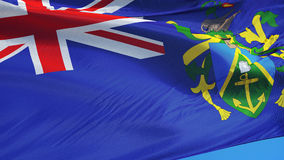 Pitcairn Islands flag in slow motion seamlessly looped with alpha. Pitcairn Islands flag waving in slow motion against blue sky, seamlessly looped, close up stock video footage