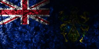 Pitcairn Islands grunge flag on old dirty wall, British Overseas Territories, Britain dependent territory flag. Pitcairn Islands smoke flag, British Overseas vector illustration