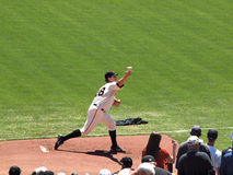 Pitch Matt Cain steps forward to throw pitch Royalty Free Stock Images