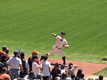 Pitch Matt Cain steps forward to throw Stock Photos
