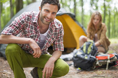Pitch a tent Royalty Free Stock Photography