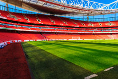 Pitch view, The Emirates Stadium. Stock Image