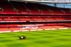 Pitch view, inside The Emirates Stadium Stock Photos