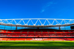 Pitch view, inside The Emirates Stadium Stock Image