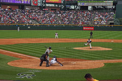 Pitch on the way. Pitcher Ubaldo Jimenez delivers a pitch in the Rockies and Cardinals game on July 8, 2010 Royalty Free Stock Photography