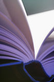Pitched pages. Pitched, blue illuminated book, flip a book Royalty Free Stock Photography