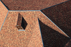 Pitched tiled shingle roof with attic window Stock Photography