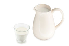 Pitcher. And glass of milk isolated stock photo