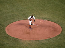 Pitcher Barry Zito leans forwards standing Royalty Free Stock Images